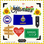 Scrapbook Customs - State Sightseeing Collection - 12 x 12 Cardstock Stickers - Kansas