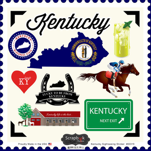 Scrapbook Customs - State Sightseeing Collection - 12 x 12 Cardstock Stickers - Kentucky