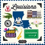 Scrapbook Customs - State Sightseeing Collection - 12 x 12 Cardstock Stickers - Louisiana
