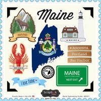Scrapbook Customs - State Sightseeing Collection - 12 x 12 Cardstock Stickers - Maine