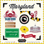 Scrapbook Customs - State Sightseeing Collection - 12 x 12 Cardstock Stickers - Maryland