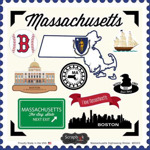 Scrapbook Customs - State Sightseeing Collection - 12 x 12 Cardstock Stickers - Massachusetts