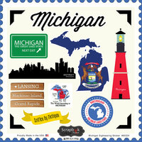 Scrapbook Customs - State Sightseeing Collection - 12 x 12 Cardstock Stickers - Michigan