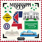 Scrapbook Customs - State Sightseeing Collection - 12 x 12 Cardstock Stickers - Mississippi
