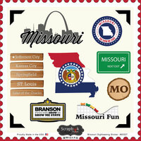 Scrapbook Customs - State Sightseeing Collection - 12 x 12 Cardstock Stickers - Missouri