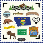 Scrapbook Customs - State Sightseeing Collection - 12 x 12 Cardstock Stickers - Montana