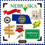 Scrapbook Customs - State Sightseeing Collection - 12 x 12 Cardstock Stickers - Nebraska