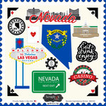 Scrapbook Customs - State Sightseeing Collection - 12 x 12 Cardstock Stickers - Nevada