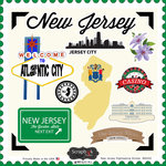 Scrapbook Customs - State Sightseeing Collection - 12 x 12 Cardstock Stickers - New Jersey
