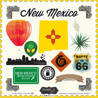 Scrapbook Customs - State Sightseeing Collection - 12 x 12 Cardstock Stickers - New Mexico