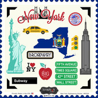 Scrapbook Customs - State Sightseeing Collection - 12 x 12 Cardstock Stickers - New York
