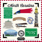 Scrapbook Customs - State Sightseeing Collection - 12 x 12 Cardstock Stickers - North Carolina