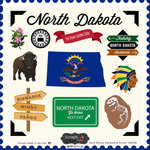 Scrapbook Customs - State Sightseeing Collection - 12 x 12 Cardstock Stickers - North Dakota