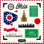 Scrapbook Customs - State Sightseeing Collection - 12 x 12 Cardstock Stickers - Ohio