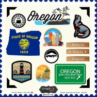 Scrapbook Customs - State Sightseeing Collection - 12 x 12 Cardstock Stickers - Oregon