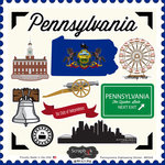 Scrapbook Customs - State Sightseeing Collection - 12 x 12 Cardstock Stickers - Pennsylvania