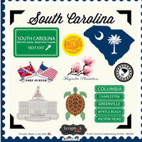 Scrapbook Customs - State Sightseeing Collection - 12 x 12 Cardstock Stickers - South Carolina