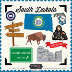Scrapbook Customs - State Sightseeing Collection - 12 x 12 Cardstock Stickers - South Dakota