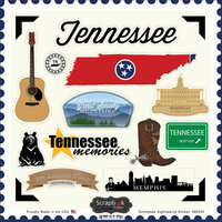 Scrapbook Customs - State Sightseeing Collection - 12 x 12 Cardstock Stickers - Tennessee
