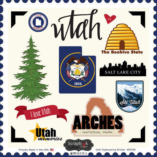 Scrapbook Customs - State Sightseeing Collection - 12 x 12 Cardstock Stickers - Utah