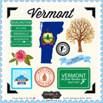 Scrapbook Customs - State Sightseeing Collection - 12 x 12 Cardstock Stickers - Vermont