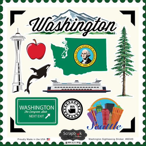 Scrapbook Customs - State Sightseeing Collection - 12 x 12 Cardstock Stickers - Washington