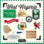 Scrapbook Customs - State Sightseeing Collection - 12 x 12 Cardstock Stickers - West Virginia