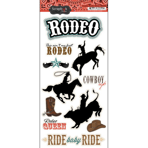 Scrapbook Customs - Fun at the Fair Collection - Cardstock Stickers - Cowboy Rodeo