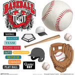 Scrapbook Customs - Sports Collection - 12 x 12 Sticker Cut Outs - Baseball Elements