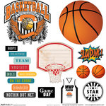 Scrapbook Customs - Sports Collection - 12 x 12 Sticker Cut Outs - Basketball Elements