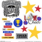 Scrapbook Customs - Sports Collection - 12 x 12 Sticker Cut Outs - Cheerleading Elements