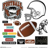 Scrapbook Customs - Sports Collection - 12 x 12 Sticker Cut Outs - Football Elements