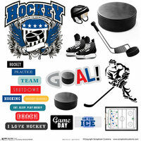 Scrapbook Customs - Sports Collection - 12 x 12 Cut Outs - Hockey Elements