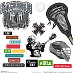 Scrapbook Customs - Sports Collection - 12 x 12 Sticker Cut Outs - Lacrosse Elements