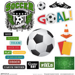 Scrapbook Customs - Sports Collection - 12 x 12 Sticker Cut Outs - Soccer Elements