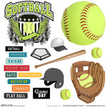 Scrapbook Customs - Sports Collection - 12 x 12 Sticker Cut Outs - Softball Elements