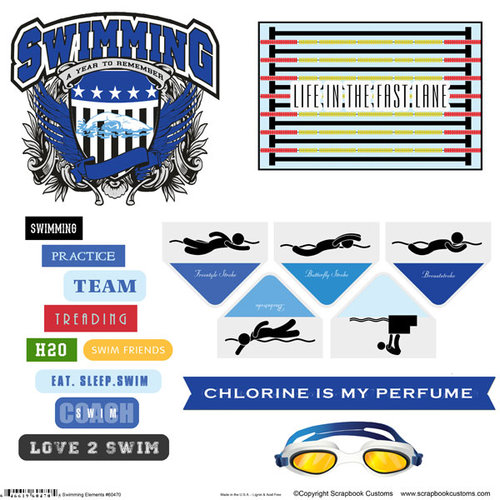 Scrapbook Customs - Sports Collection - 12 x 12 Sticker Cut Outs - Swimming Elements