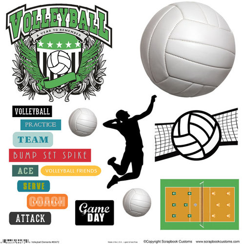 Scrapbook Customs - Sports Collection - 12 x 12 Sticker Cut Outs - Volleyball Elements