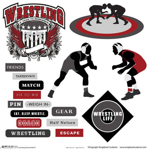 Scrapbook Customs - Sports Collection - 12 x 12 Sticker Cut Outs - Wrestling Elements