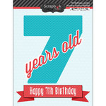 Scrapbook Customs - Happy Birthday Collection - 3 Dimensional Stickers - 7th Birthday