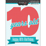 Scrapbook Customs - Happy Birthday Collection - 3 Dimensional Stickers - 10th Birthday