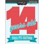 Scrapbook Customs - Happy Birthday Collection - 3 Dimensional Stickers - 14th Birthday