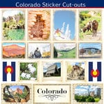 Scrapbook Customs - State Sightseeing Collection - 12 x 12 Sticker Cut Outs - Colorado