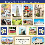 Scrapbook Customs - State Sightseeing Collection - 12 x 12 Sticker Cut Outs - Connecticut