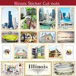 Scrapbook Customs - State Sightseeing Collection - 12 x 12 Sticker Cut Outs - Illinois