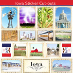 Scrapbook Customs - State Sightseeing Collection - 12 x 12 Sticker Cut Outs - Iowa