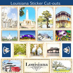 Scrapbook Customs - State Sightseeing Collection - 12 x 12 Sticker Cut Outs - Louisiana