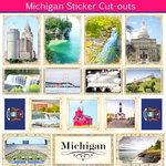 Scrapbook Customs - State Sightseeing Collection - 12 x 12 Sticker Cut Outs - Michigan