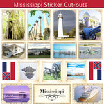 Scrapbook Customs - State Sightseeing Collection - 12 x 12 Sticker Cut Outs - Mississippi