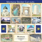 Scrapbook Customs - State Sightseeing Collection - 12 x 12 Sticker Cut Outs - Montana